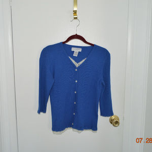 sag harbor blue sweater with lace inset